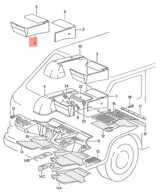 Genuine VW Typ 2 Syncro Vanagon sound absorbfor wheel housing 255863665C8WV