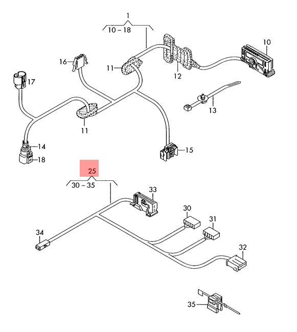 Genuine Vw Caddy Wiring Harness For Door Trim Panel