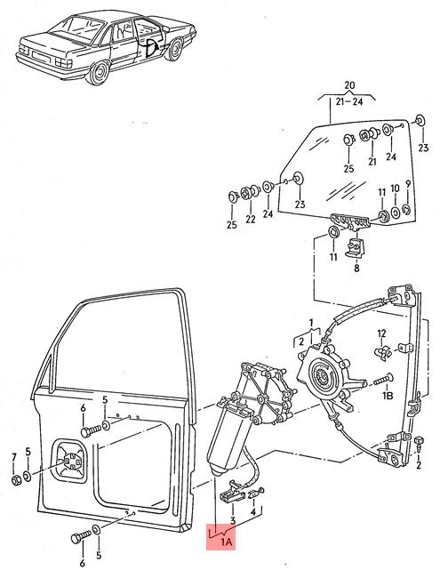 Genuine Volkswagen Window Regulator Motor Left Nos Audi V8 441959801