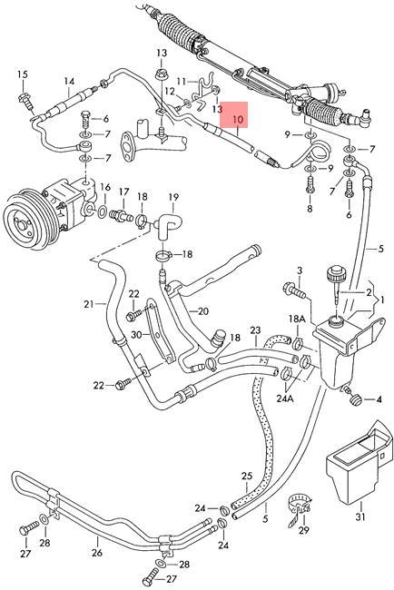 Genuine Vw Expansion Hose Vane Pump To Steering Gear Rhd Nos Audi