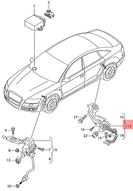 Genuine Level Sensor With Poles Left Rear Audi A6 4f0616571k