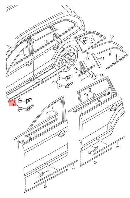 Genuine Primed Cover For Door Audi Q7 4l 4lb 4l0853960fgru