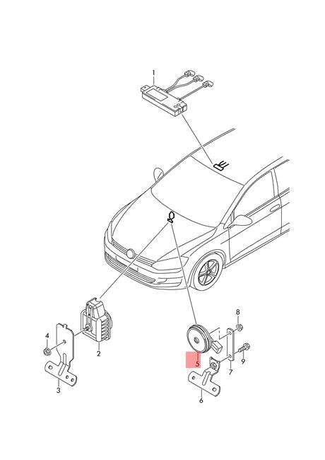 Genuine Signal Horn Vw E Golf Golf R32 Gti Rabbit Variant Sportwagen
