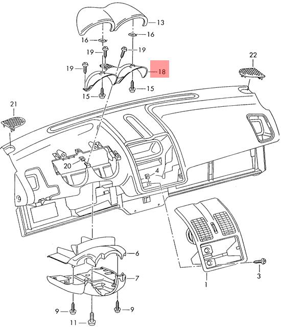 Genuine Vw Caddy Derby Polo Classic Cover For Instrument Housing