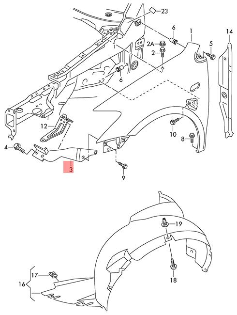 Genuine Brace Left Upper VW Polo Derby Vento-Ind Jin Qin Vento 6R0805931A