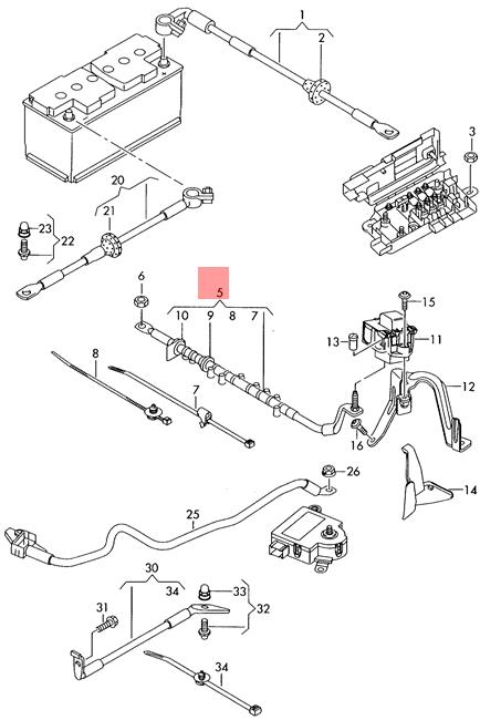 Genuine Vw Audi Touareg Q7 Wiring Harness For Battery   7l6971227c