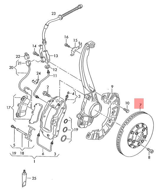 Genuine Brake Disc Vented Vw Audi Touareg Audi Q7 7l6 7la 4l 4lb