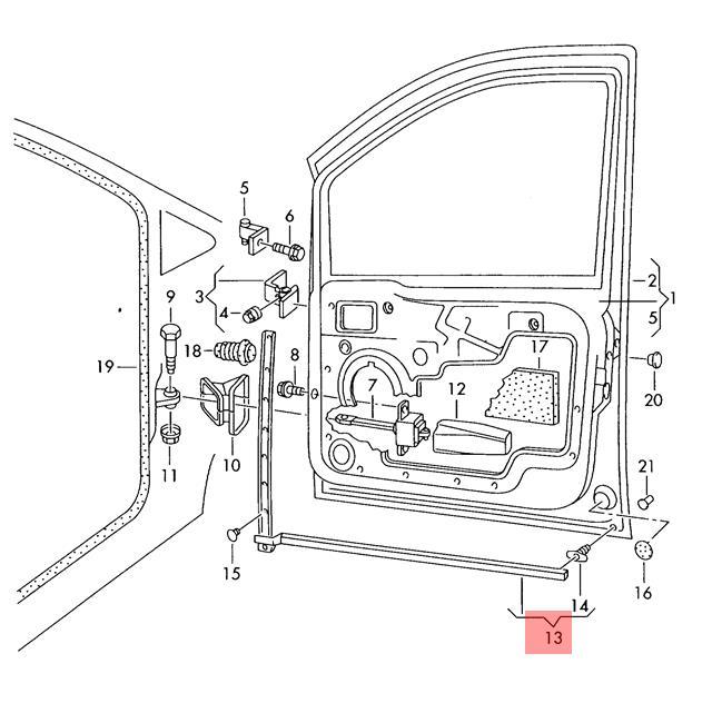 Genuine Window Aperture Seal VW SEAT Sharan Syncro 4Motion 7M3839477B41