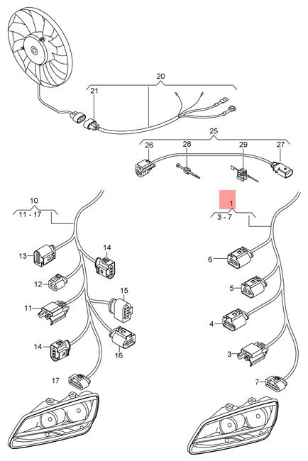 Genuine Vw Seat Sharan Wiring Harness Section For Lighting