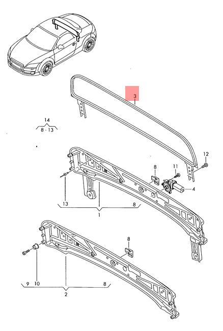 Genuine Key AUDI Audi Ttrs Coupe Roadster Tt Tts 8J7825381A