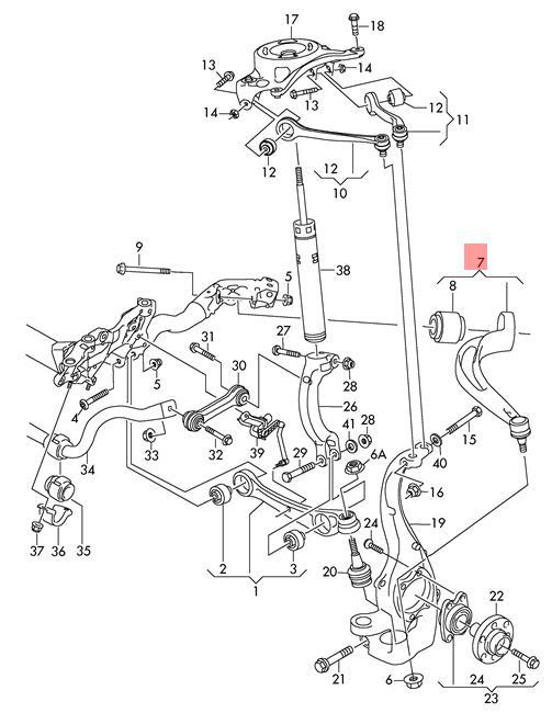 Genuine Suspension Guide Right Right Front Audi 8k0407694ad