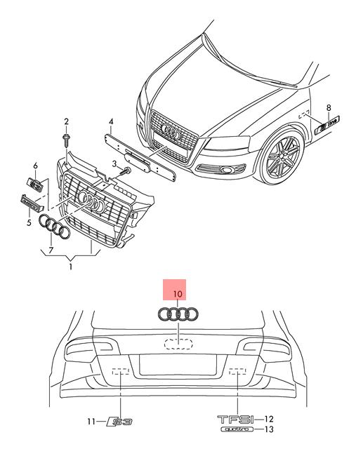 Genuine Chrome Audi Emblem Audi A3 S3 Sportback Lim Quattro