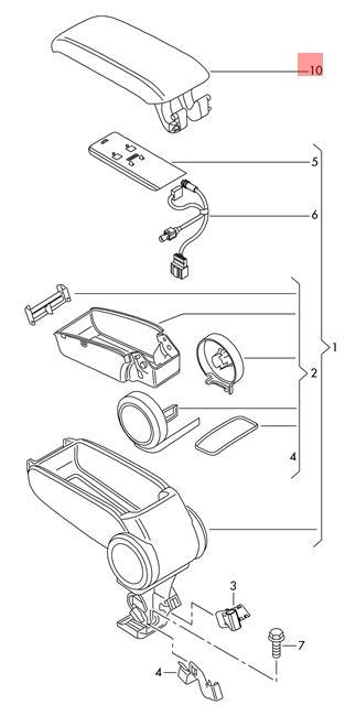 Genuine Soul Black Armrest Upper Part Audi 8p0864245p8e1