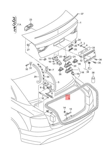 Genuine Gasket For Flap Audi A3 S3 Sportback Rs3 8v5827705e