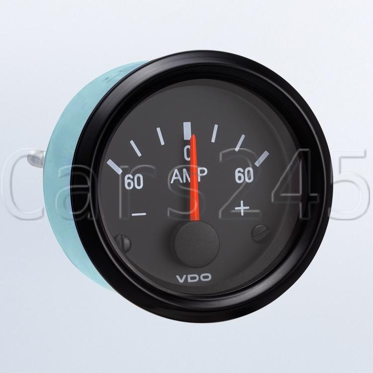 "VDO  Illuminated  Marine Ammeter 60-0-60 Amp Scale 2-1//16/"" Diam"