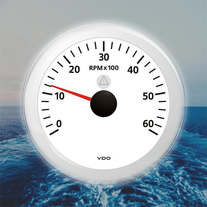 """VDO Viewline Drehzahlmesser Boot Anzeige 6000 RPM 85mm 3/"""" weiß A2C59512435"""